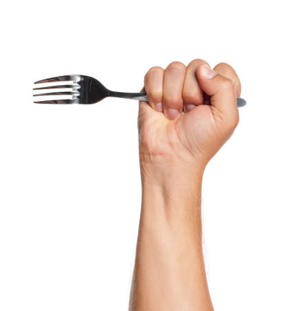 Man hand with fork isolated on white background photo