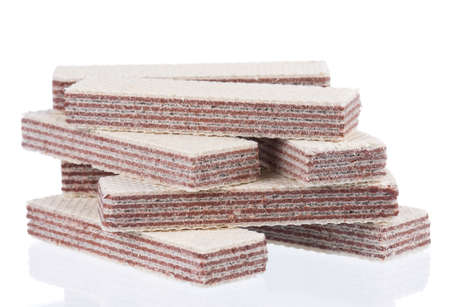 Close-up of delicious wafers isolated on white background Stock Photo - 15334594