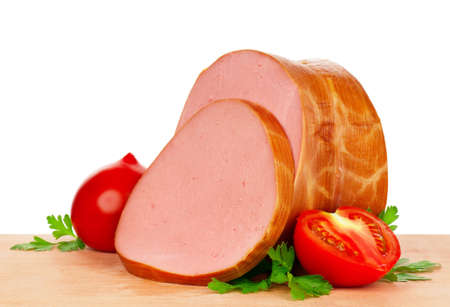 Sausage on a wooden cutting board - on a white background