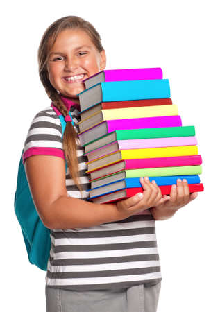 Happy girl with books isolated on white background photo