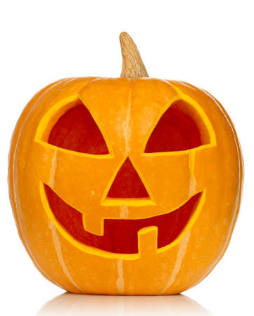 Funny Halloween pumpkin isolated on white background Stock Photo - 15409069