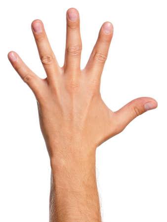 Signe main de l'homme isolé sur fond blanc Banque d'images