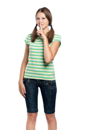 Portrait of emotionally girl isolated on white background photo