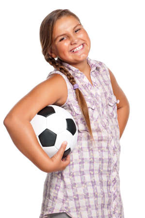 Girl with classic soccer ball - isolated on white background photo