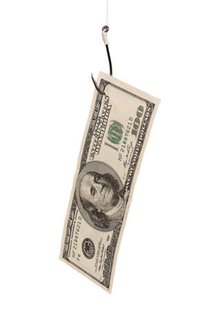 Fish hook with dollars isolated on white background Stock Photo - 15550116