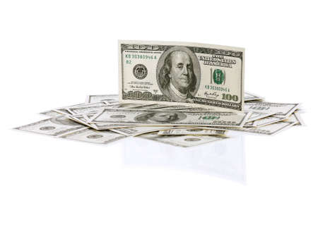 Heap of dollars isolated on a white background  photo