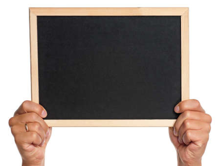 Man holding an small blackboard isolated on white background photo