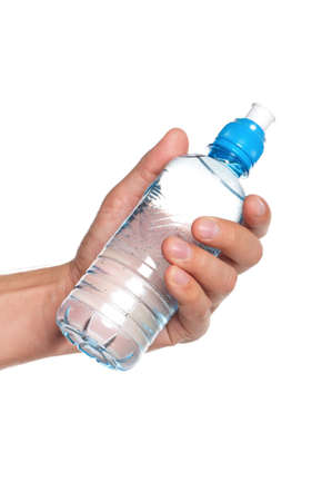 Man holding a bottle of water isolated on white background Stock Photo - 15550034