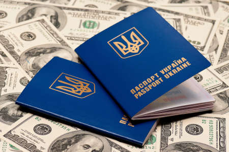 Two international Ukrainian passport on US dollars background Stock Photo - 15557063