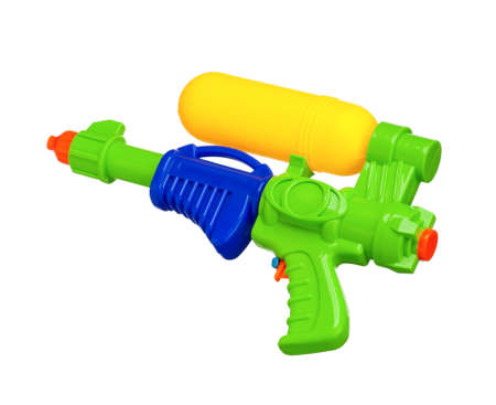 Plastic water gun isolated on white background photo