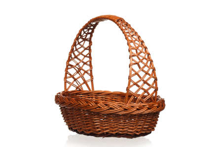 full willow: Empty wicker basket isolated on white background