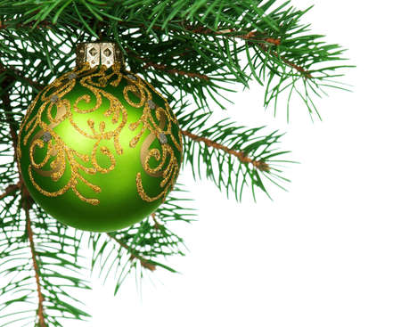 Small bauble on green christmas firtree on white background Stock Photo - 15597713