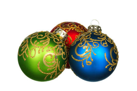 Christmas baubles - red, green, blue - isolated on white background photo