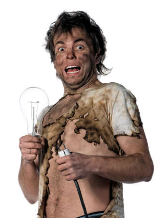Portrait of funny electrician over white background photo