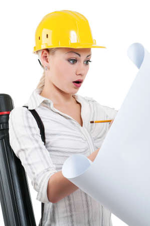 Portrait of attractive architect girl with hard hat - isolated on white background Stock Photo - 15597707