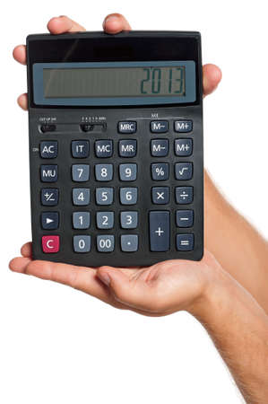 Man hand with calculator isolated on white background photo