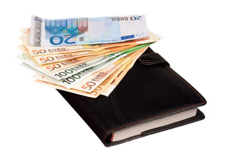 Heap of euro and notepad isolated on a white background photo