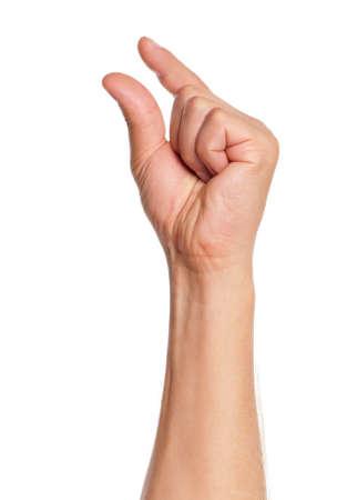 cueillette: Signe main de l'homme isol� sur fond blanc Banque d'images