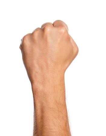 Man hand teken geïsoleerd op een witte achtergrond Stockfoto