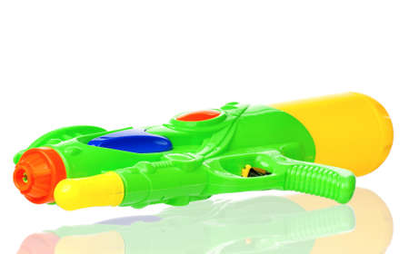 Plastic water gun isolated on white background Stock Photo