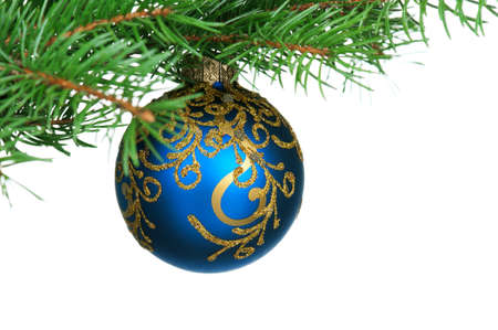 Small bauble on green christmas firtree on white background Stock Photo - 15677834