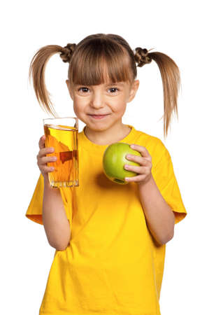 Portrait of surprised little girl with apple juice isolated on white background Stock Photo - 15775707