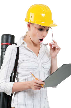 Portrait of attractive architect girl with hard hat - isolated on white background Stock Photo - 15775831