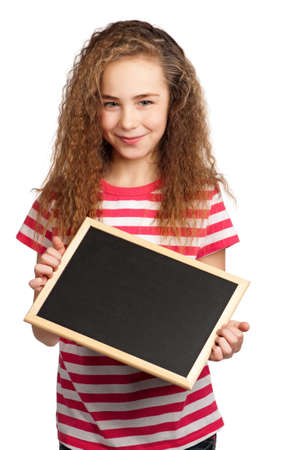 Portrait of girl with blackboard isolated on white background Stock Photo - 15775836