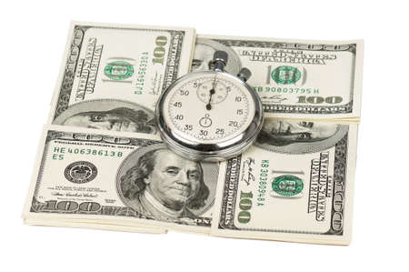 Heap of dollars with stopwatch isolated on a white background photo