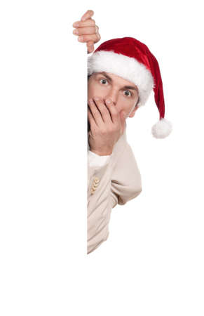 Portrait of handsome man in santa hat with blank billboard on white background Stock Photo - 15674763