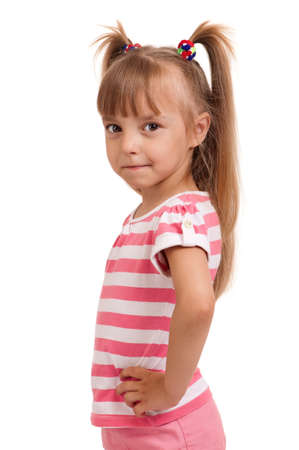 Portrait of emotionally kid  Funny little girl isolated on white background  Beautiful caucasian model  photo