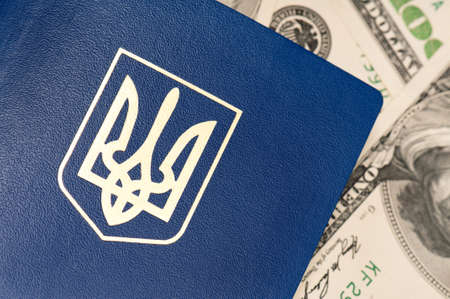 International Ukrainian passport on US dollars background Stock Photo - 15678262