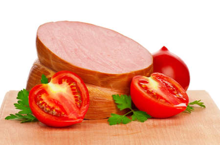 Sausage on a wooden cutting board - on a white background photo