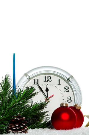 Christmas baubles with clock on white background photo