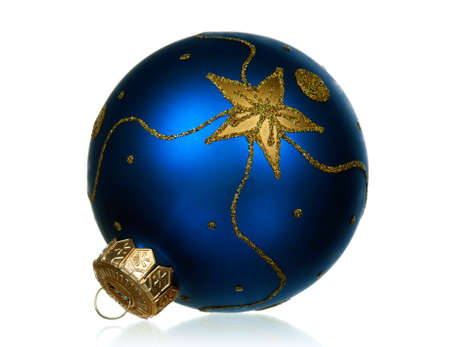 Big blue bauble for christmas firtree on white background photo