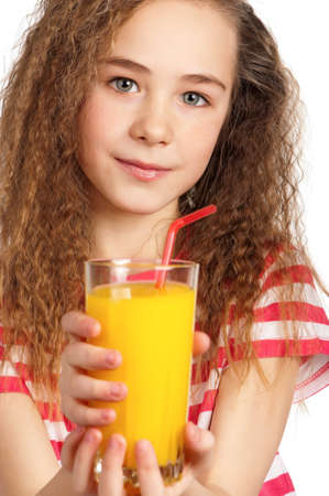 Portrait of happy girl with orange juice isolated on white background Stock Photo - 15784668