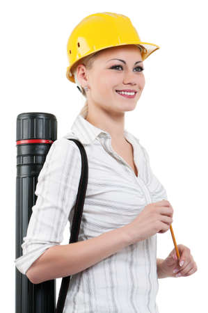 Portrait of attractive architect girl with hard hat - isolated on white background photo