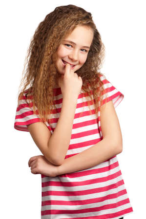 bashfulness: Portrait of happy girl isolated on white background