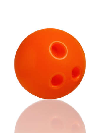 bowling ball: Single plastic orange ball of toy bowling isolated on a white background Stock Photo