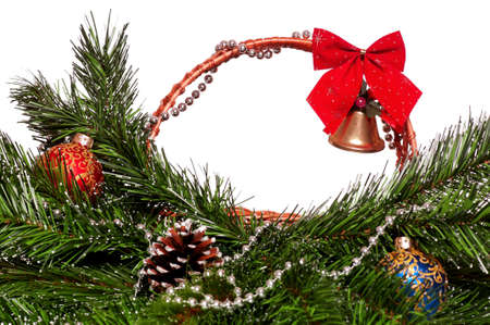 Christmas wicker basket with artificial green branch on white background Stock Photo - 15935671