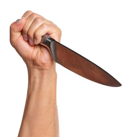 aggressively: Man mano con un coltello da cucina isolato su sfondo bianco