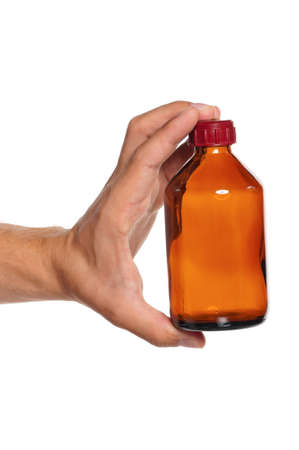 Man hand with small bottle isolated on white background Stock Photo - 15935380