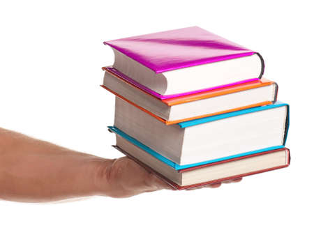 Man hand with a books isolated on white background Stock Photo - 15935390