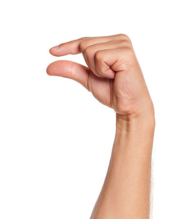 grip: Man hand sign isolated on white background Stock Photo