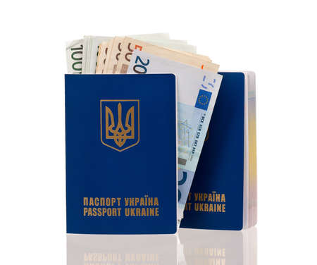 Two international Ukrainian passports with Euro banknotes isolated on background Stock Photo - 15935397