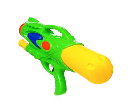 watergun: Plastic water gun isolated on white background Stock Photo