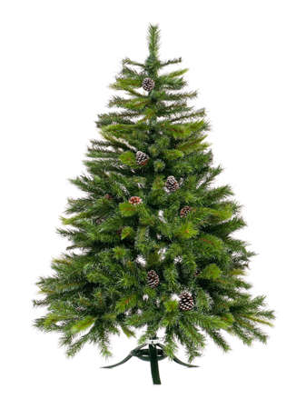 fake christmas tree: Artificial Christmas fir tree isolated on white background