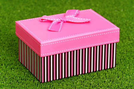 Gift box with bow on artificial green grass Stock Photo - 16384970