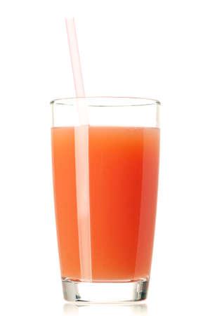 Glass of fresh grapefruit juice with straw on white background Stock Photo - 16384149