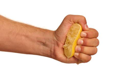 Man hand with fresh lemon isolated on white background
